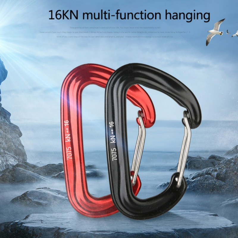 16KN 7075 Aviation Aluminum Outdoor Carabiner Clip Safety Snap Hook Keychain D Ring Buckle Clip Rock Climbing For Camping Hiking