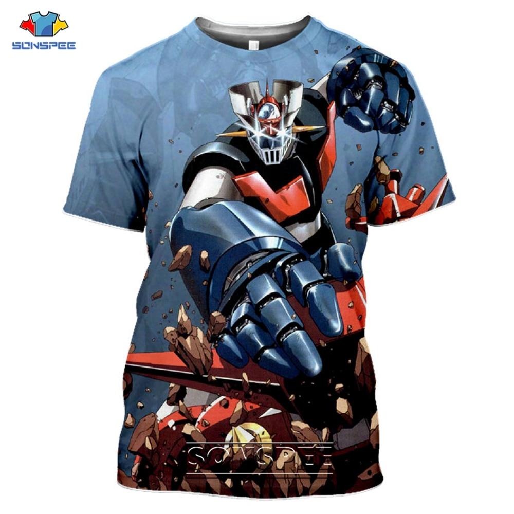 Mazinger Z Men's T Shirt Japan Anime 3D Print Casual Tee Tops Shirt Men Women Funny Harajuku Short Sleeve T-Shirts Streetwear