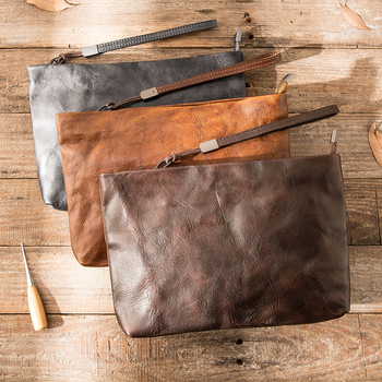 New Genuine Leather Retro Clutch Clutch Bag Phone Clutch Bag Men's Handmade First Layer Cowhide Tide Soft Leather Female Vintage фото