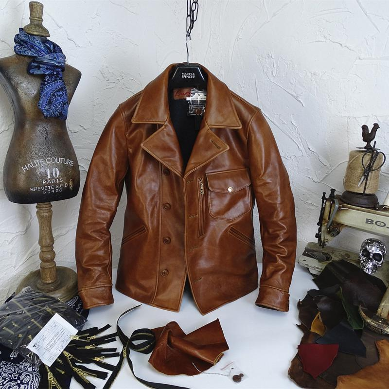H04aceccf54dd428ab7e705391c44cef8z YR!Free shipping.Italy Oil Wax Cowhide coat.Helix Rider genuine leather jacket,winter men vintage brown leather jacket.sales