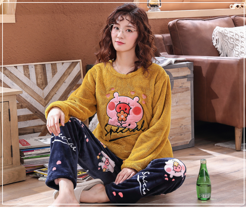 Long Sleeve Warm Flannel Pajamas Winter Women Pajama Sets Print Thicken Sleepwear Pyjamas Plus Size 3XL 4XL 5XL 85kg Nightwear 391