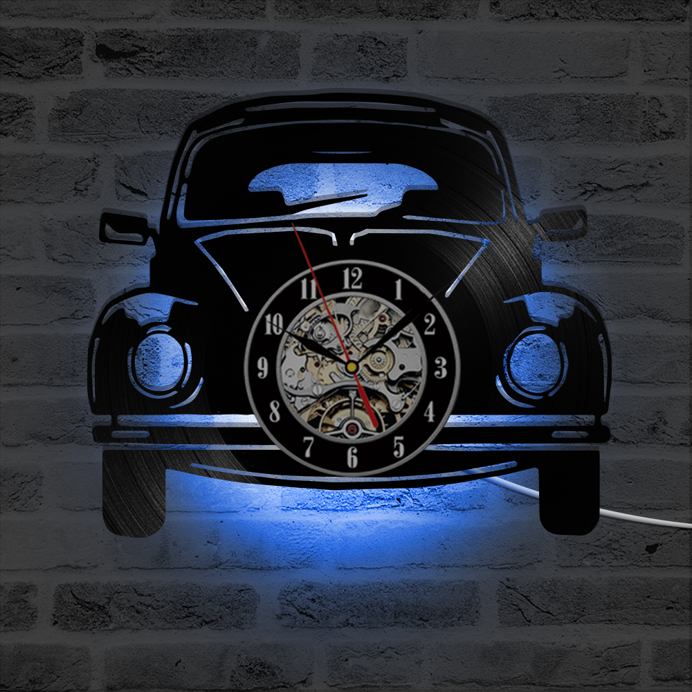 3D Car Shape Wall Clock Vinyl Record Clocks With LED Backlight Creative Antique Style Hanging Watch Black Hollow Home Decor