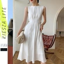 French Satin Dress Women Elegant Slim Business Party Bodycon Work Office White Black Pleated A Line Dresses Vestidos Robe