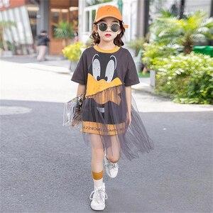 3-16 Years Teens Kids Mesh Dresses for Girls Cartoon Print Dress Summer Children Cute Clothes