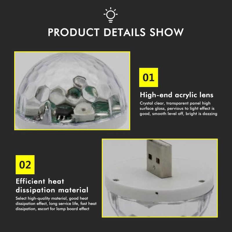 ミニ usb ディスコライト led パーティーライトポータブルクリスタルマジックボールカラフルな効果ステージランプのためのカラオケ装飾