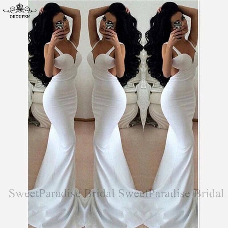 Sexy coupé côtés Robe De soirée pour les femmes Robe De soirée sirène blanche Spaghetti sangle longues robes De bal
