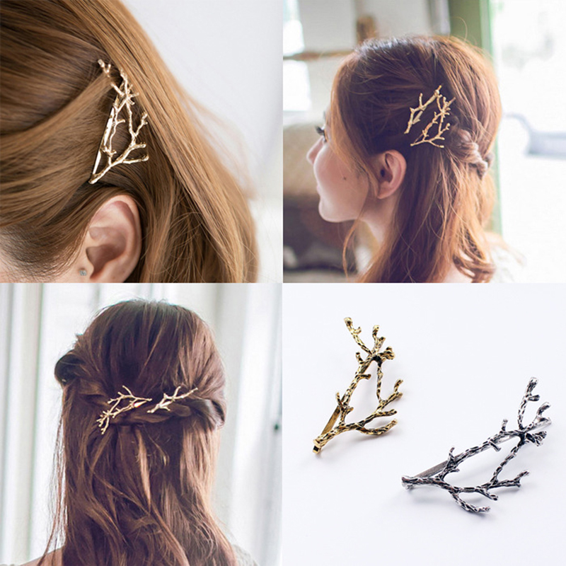 1/2 PCS Fashion Girls Hair Clips Metal Leaves Gold/Silver Hair Clips Antler Branch Bobby Pins Women Hair Styling Tool Hairpins