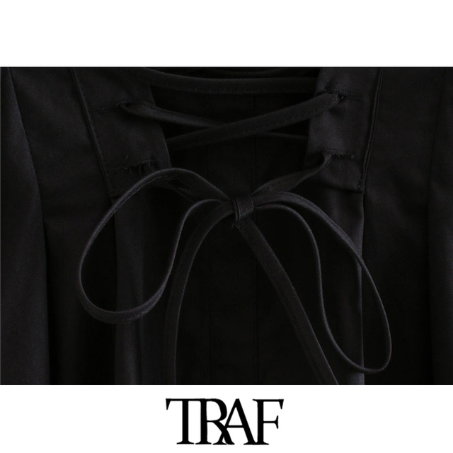 TRAF Women Chic Fashion With Drawstring Tied Pleated Mini Dress Vintage Long Sleeve Back Zipper Female Dresses Mujer 5