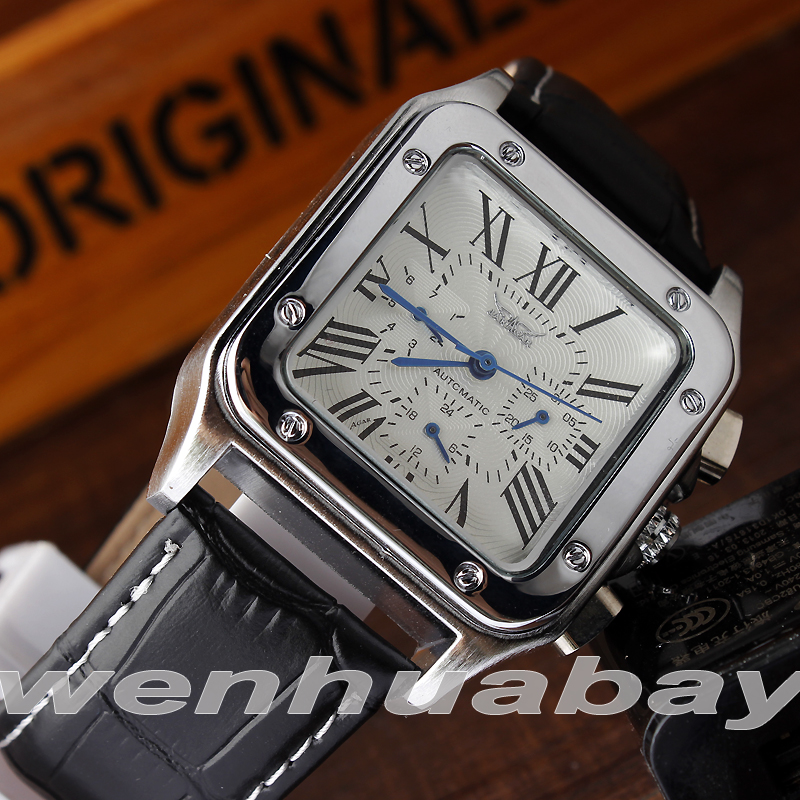 Simple Automatic Mechanical Self-Winding Men Wrist Watch Calendar Display Roman Numbers Analog Black Leather Strap Gifts