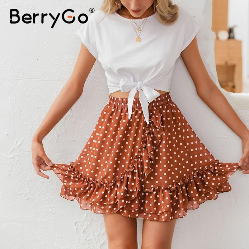 BerryGo Elegant polka dot print mini skirts womens A-line ruffled female skirt 2020 Spring summer holiday beach skirts ladies 4