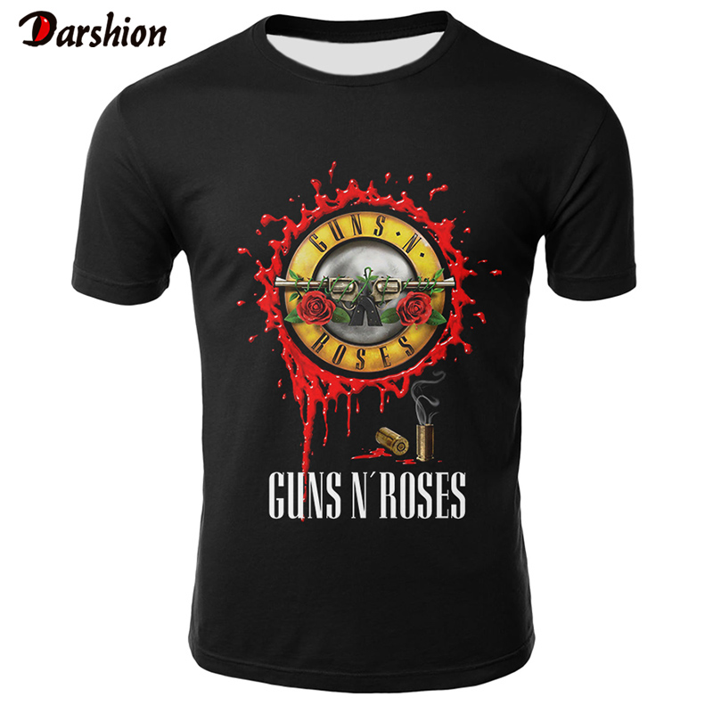 Guns N Roses T Shirt Men O-neck Short Sleeve T-shirt Men/Women Tops Tee Summer High Quality Casual Streetwear Camiseta 3D Tshirt