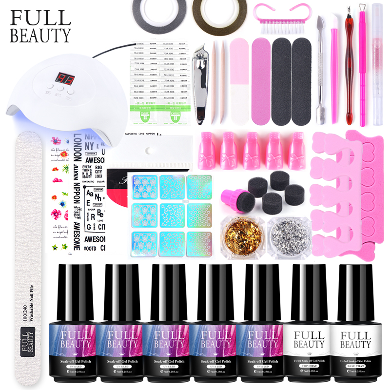 30W UV LED Lamp Nail Kit Soak Off Eye Cat Gel Nail Polish Flower Letter Slider Glitter For Manicure Nail Decoration Set CH1574