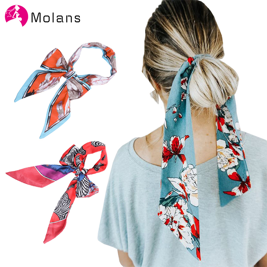 Molans 2020 New Spring Hair Ponytail Holder Scrunchies Boho Printing Hair Accessories Women Scarf Tie Hairband Ribbon Headwear