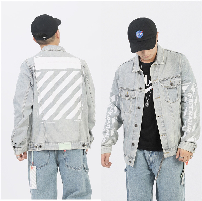 Denim Jacket Men Motorcycle Bomber Jacket Jeans Wear Jacket Hiphop Off Streetwear Black White Cotton Coat Harajuku OW Cowboy Top