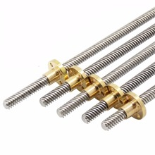 T8 Lead Screw 3D Printer Parts  250 300 350 400 500 mm Leadscrew Trapezoidal Rods Nuts for Reprap THSL-300-8D