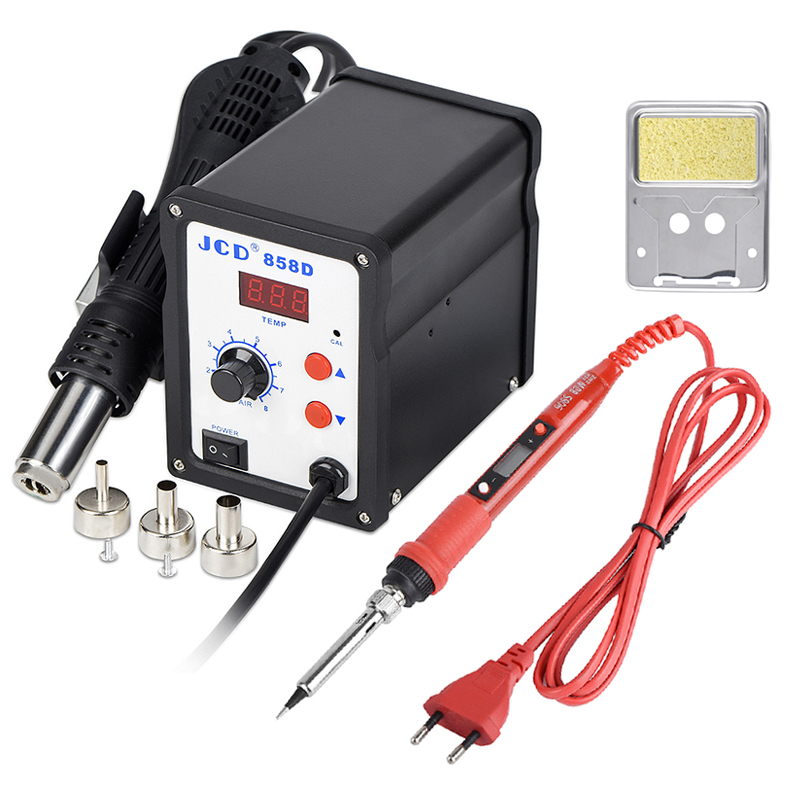 JCD Soldering Station 858D 700W LCD Digital Welding Solder Rework Station 220V/110V Soldering Iron Hot Air Gun SMD Repair Tools