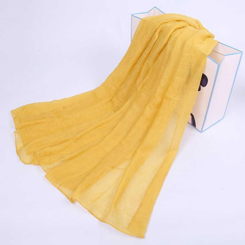 2019 여성 스카프 부드러운 코 튼 린 넨 Shawls 및 포장 캔디 색상 따뜻한 겨울 스카프 이슬람 머리 스카프 Hijab 스카프 Foulard femm