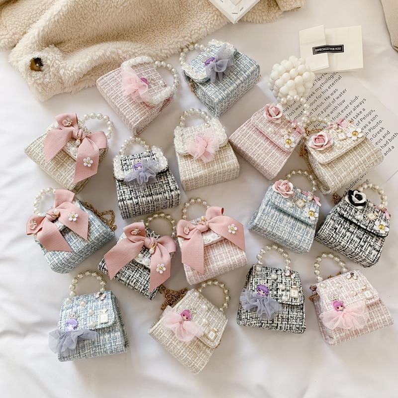 Korean Style Children Mini Handbags Tote Cute Kids Princess Bow Messenger Bag Baby Girl Pearl Party Shoulder Hand Bags Gift