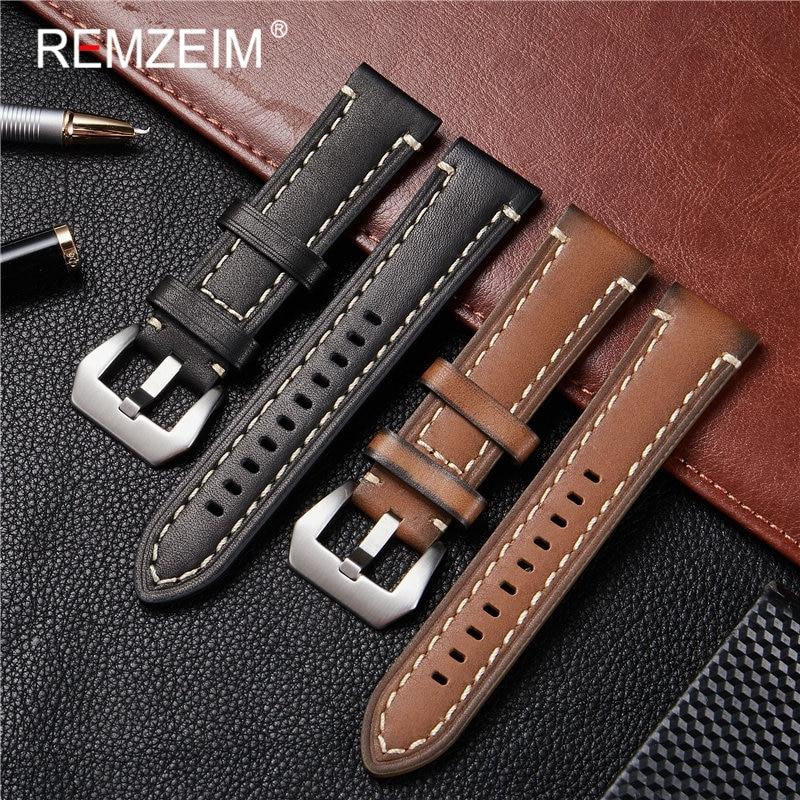 REMZEIM Handmade Vintage Leather Watch Strap 18mm 20mm 22mm 24mm Strap With Solid Stainless Steel Buckle Watch Accessories