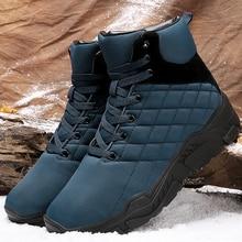Snow boots men Gingham Lace up Velvet Winter shoes for male Non slip Waterproof Warm Cozy Men Ankle boots Platform 2019 New все цены
