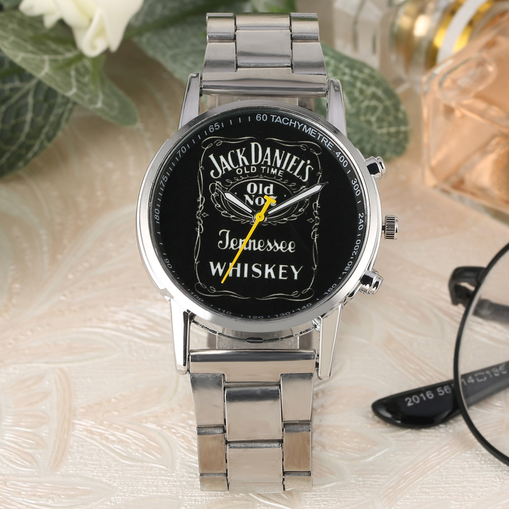 Classic Jack Daniel Theme Quartz Watches Old Time Whiskey Men Watch Silver Stainless Steel Gifts For Dad