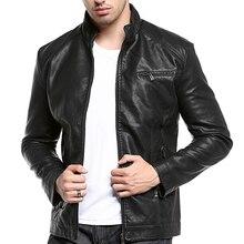 Стирать мужская кожаная куртка мужская кожа PU с толщиной воротник-стойка манжеты на молнии качество мотоцикл кожаная куртка