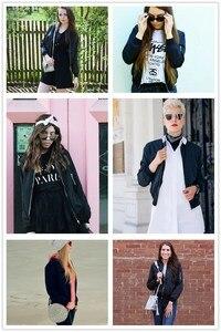 Image 5 - COLROVIE Black Stand Collar Zipper Crop Jacket Women 2019 Fall Streetwear Fashion Bomber Jackets Ladies Solid Outerwear