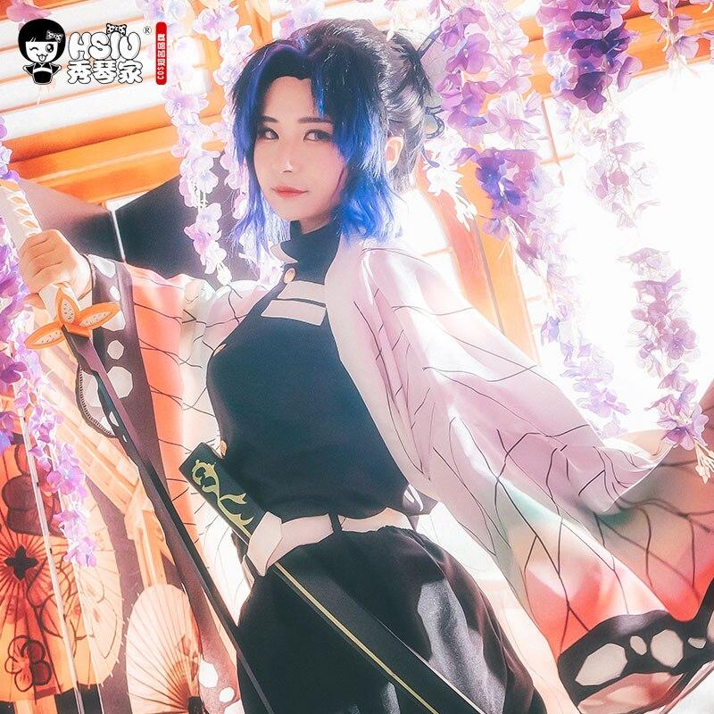 Image 3 - HSIU Kochou Shinobu Аниме Косплей Костюм парик Demon Slayer: Kimetsu no Yaiba кимоно униформа плащ Хэллоуин градиент волос парик.Костюмы для девочек    АлиЭкспресс