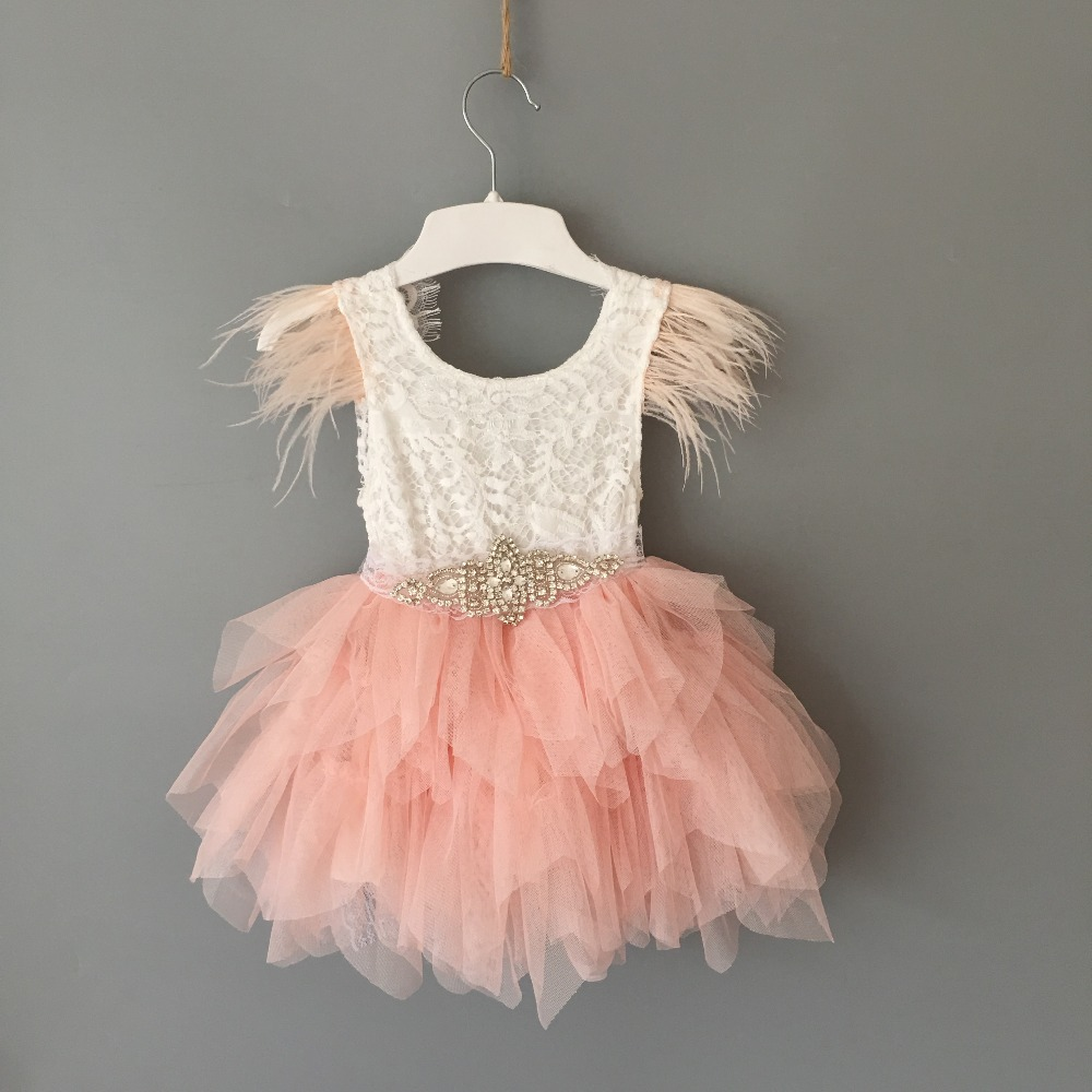 Princess baby feather dress 1st birthday party toddler girls lace flying sleeve summer dress kids tutu clothing with sashes 3