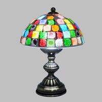 Vintage Turkish Table Lamp Crystal Glass Colorful Lamp Decorative Home Living Room Bedroom Tiffany Handmade Mosaic Lamp E27