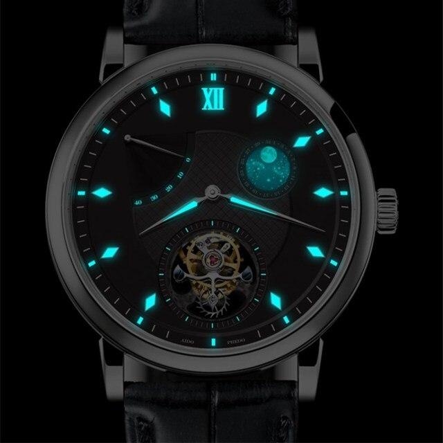 Süper BGW9 aydınlık eller Tourbillon erkekler İzle orijinal ST8001 takvim Moon Phase Tourbillon erkek mekanik saatler timsah