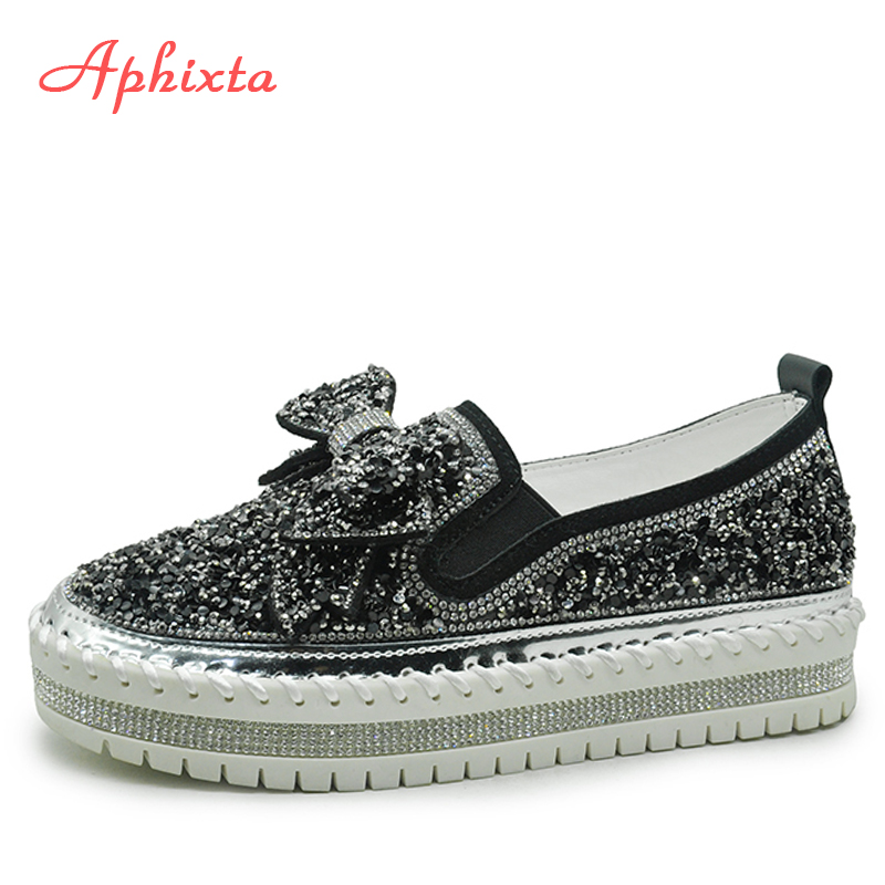 Aphixta Rhinestone Women Flats Leather Loafers Spring Women Shoes Woman Crystal Sequins Bow-knot Platform Casual Moccasins Women