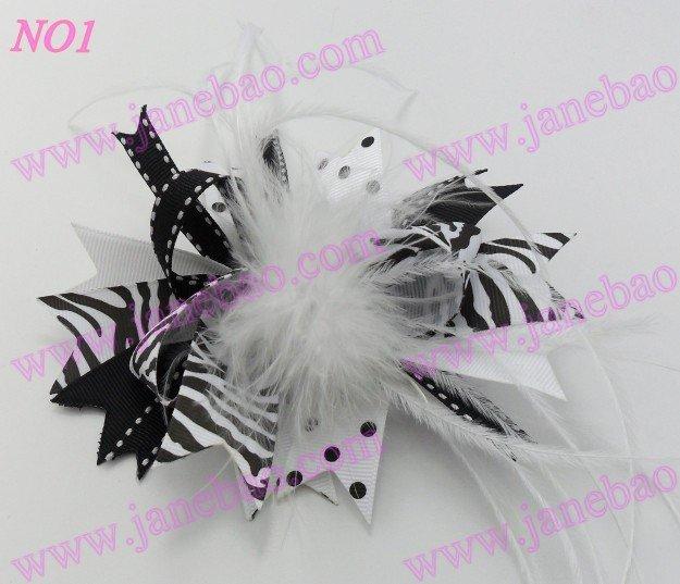 65 шт., новинка 4,5 дюймов, бант для волос из перьев, модный бутик, для девочек, банты для волос с животным принтом, банты из ленты