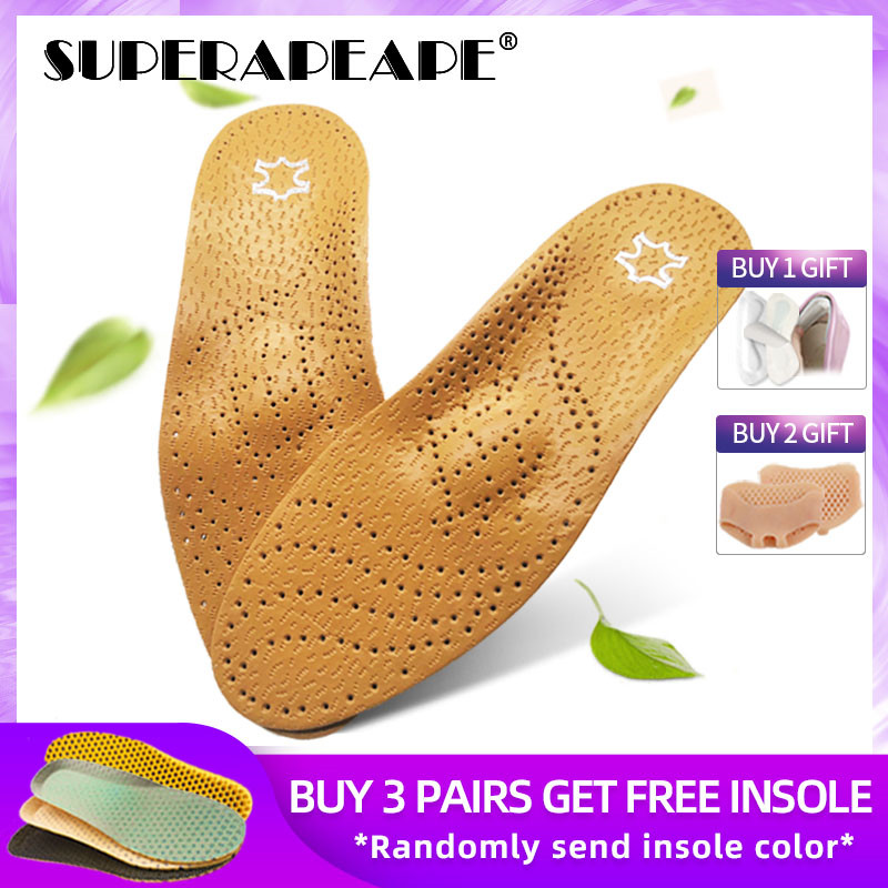 Leather Orthotic Insole For Flat Feet Arch Support Orthopedic Shoes Sole Insoles For Men And Women Insert O/X Leg Corrected