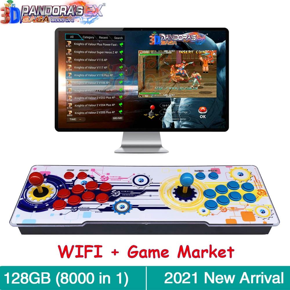 3d-джойстики Pandora Сага EX с Wi-Fi, 8000 в 1, многофункциональные джойстики с функцией экономии, аркадная Ретро игровая консоль Pandora Box, шкаф 4 игрока