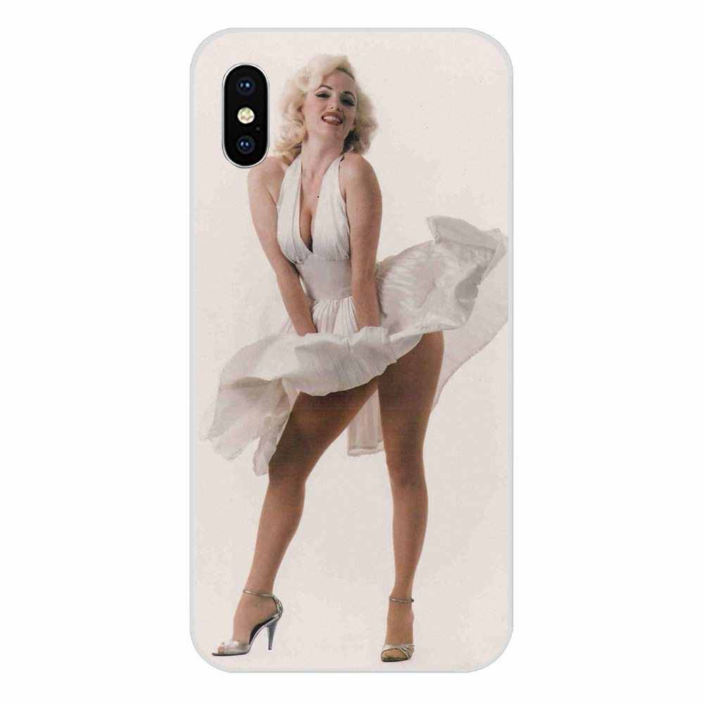 Para Xiao mi mi mi 3 4 5 4i 4C mi mi mi mi 5S 5X6 6X8 SE Pro Lite A1 Max mi x 2 Nota 3 4 Coque Marilyn Monroe Em Seu Vestido Branco Macio
