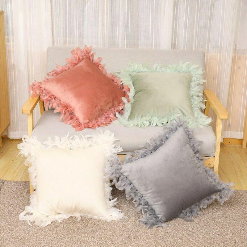 Новинка Чехол для диванной подушки плюшевая пушистая наволочка для подушки с отделкой из перьев бархатная пушистая Подушка для домашнего декора комнаты дивана