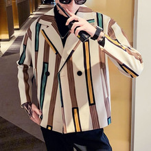 Winter Short Woolen Coat Mens Slim Fashion Overcoat Contrast Color Casual Striped Man Streetwear Jacket Men
