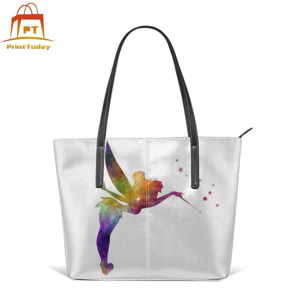Tinkerbell Handbag Tinkerbell In Watercolor Top-handle Bags Trending Large Leather Tote Bag Pattern Womens Women Handbags