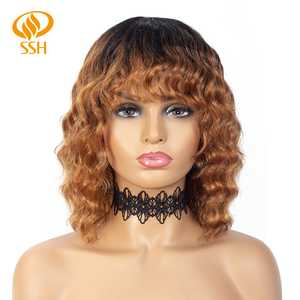 Loose Wave Short Bob Wig with Bang Fringe Brazilian Remy Hair for Black Women Balayage Highlight Black Ombre Color Full Wig(China)