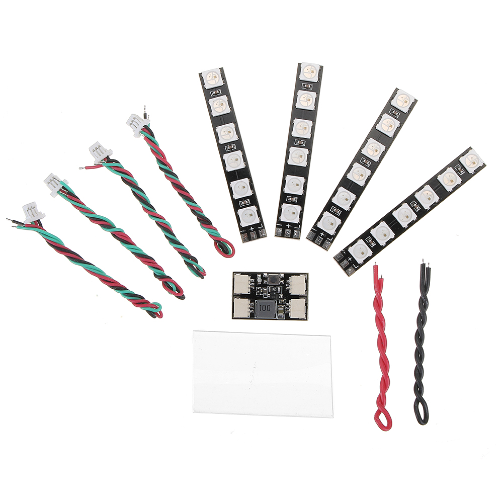 4PCS WS2812 LED Strip Light 2-6S 7 Color Switchable With LED Controller Board For RC Drone FPV