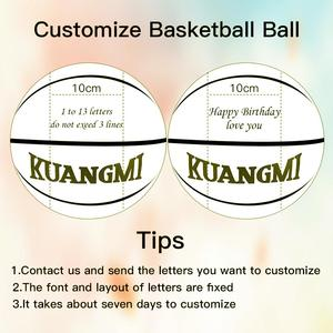 Kuangmi Basketball Size 7 Laser Engraving Letters Ball Valentine's Day Beautiful Lover Present Customized Engrave Name Gift