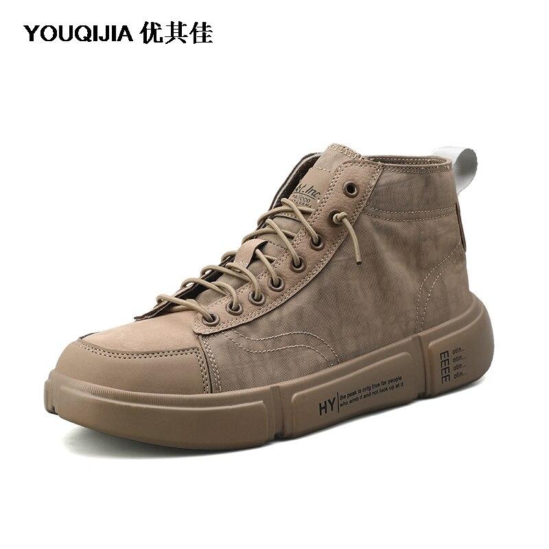 Модная белая мужская парусиновая обувь YOUQIJIA Мужская обувь для отдыха на плоской подошве обувь для скейтборда дышащие Лоферы для отдыха в... - 5