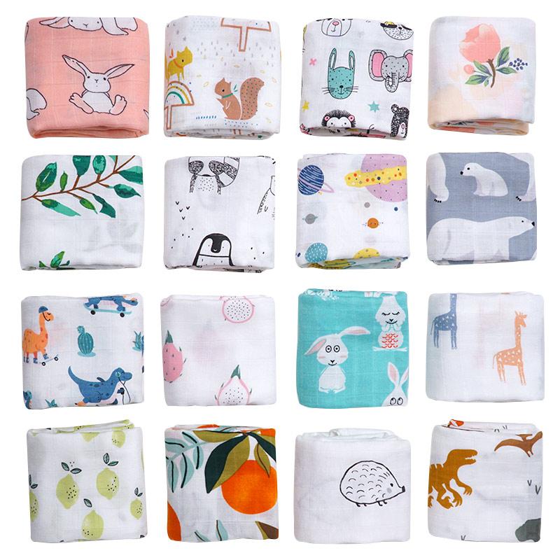Muslin 70%bamboo30%cotton Baby Blanket Soft Swaddle Newborn Cartoon Animal Printed Bibs Bandana 2020 Cute Burp Cloth Towel Scarf