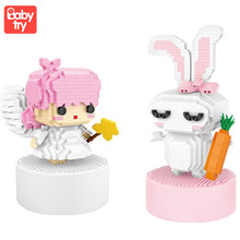 LOZ Mini  Building Blocks Educational Juguetes LOVE Rabbit Angel Music Box Girls Toys for Valentine Xmas Birthday Girl Gifts