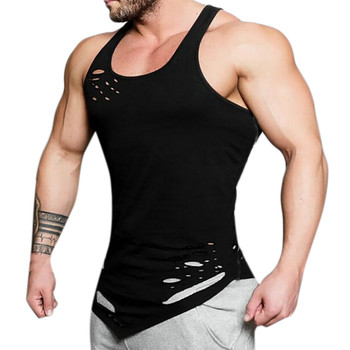 2019 Summer fashion gyms tank top hole bodybuilding stringer tank top men fitness vests muscle guys sleeveless vest W0529
