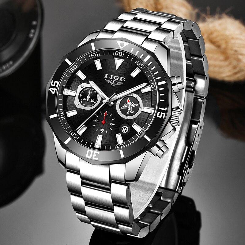 LIGE Men Pilot Watches Luxury Stainless Steel Waterproof Chronograph Fashion Sport Date Quartz Watches For Men Relogio Masculino(China)