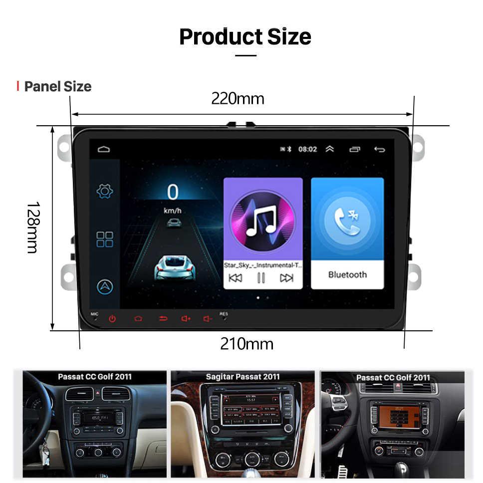 Podofo Android 8.1 2 Din Xe Ô Tô Đài Phát Thanh Đa Phương Tiện GPS Stereo Xe Volkswagen Skoda Ghế Octavia Golf 5 6 Touran passat B6 Polo
