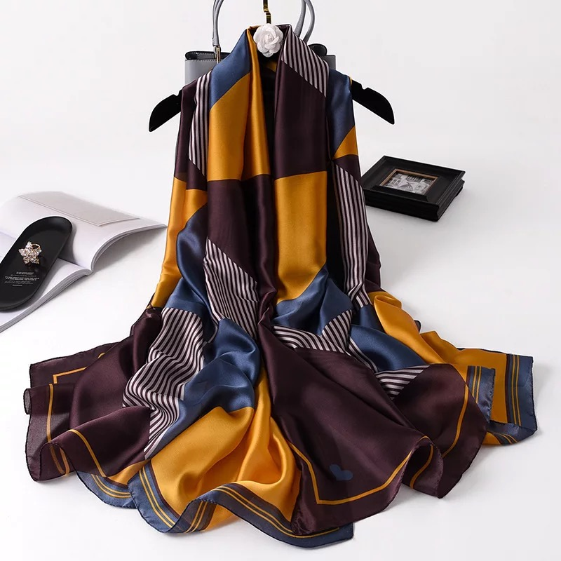 2020 New Style Women Popular Beach Muffler China Silk Fashion Autumn And Winter Good Flower Scarves Wraps Hijab Lady Print Shawl