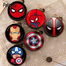 New Avengers Cartoon Coin Purse Iron Man Hulk Captain America Key Case Wallet Children Thanos Headset Bag Coin Bag For Marvel(China)